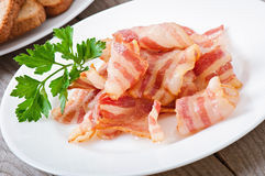 Delicious hot fried bacon Royalty Free Stock Photography