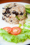 Delicious hot fried rice with jerked meat Royalty Free Stock Images