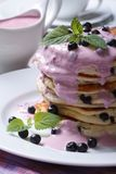 Delicious hot Pancake with blueberries, mint vertical Royalty Free Stock Image
