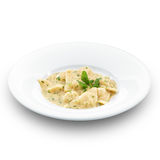 Delicious hot ravioli with meat.  on white Stock Images
