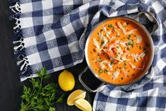 Delicious hot seafood bisque, top view royalty free stock image