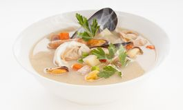 Seafood cream. Delicious and hot seafoods cream soup royalty free stock photos