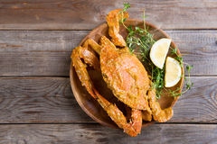 Delicious hot and spicy chili blue crab Stock Images