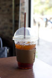 Delicious ice coffee americano. Stock Photos