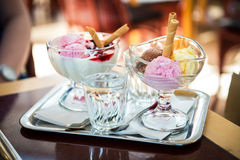 Delicious ice cream balls on table in cafe Royalty Free Stock Photo
