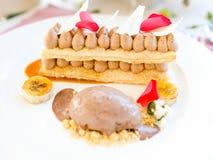 Delicious ice cream dessert restaurant. Concept. cuisine art. food photography Royalty Free Stock Photo