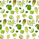 Delicious ice cream and lime color seamless vector handdrawn pattern. vector illustration
