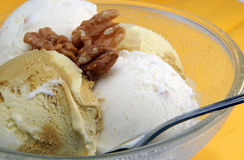 Delicious ice cream with nuts. In the cristal glass Royalty Free Stock Photos