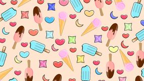 Delicious ice cream pattern royalty free illustration