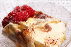 Delicious ice cream tiramisu with raspberries Royalty Free Stock Images