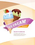 Delicious ice cream vector vintage poster template. Banner with ice cream, illustration card for cafe ice cream royalty free illustration