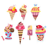 Delicious Ice Creams. Collection of yummy ice creams with various shapes and flavors Stock Image