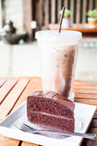 Delicious with iced coffee and chocolate cake Stock Images
