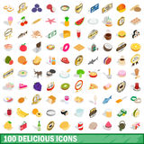 100 delicious icons set, isometric 3d style Stock Images