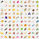 100 delicious icons set, isometric 3d style Stock Image