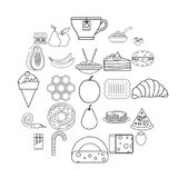 Delicious icons set, outline style. Delicious icons set. Outline set of 25 delicious vector icons for web isolated on white background Stock Photography