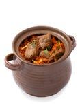 Delicious indian dum biryani lamb served in pottery Stock Photo