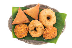 Delicious Indian snack platter Stock Photo