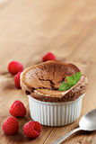 Delicious individual chocolate souffle Stock Photo