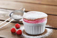 Delicious individual raspberry souffle Stock Photography
