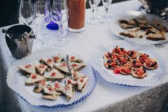 Delicious italian appetizers on table at wedding reception outdoors. Caviar, seafood, canapes, champagne and wine glasses on table. At wedding or christmas stock photography