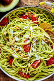 Delicious Italian pasta appetizer with avocado Royalty Free Stock Images