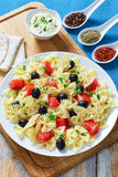 Delicious italian pasta Farfalle with Smoked Salmon Stock Photos