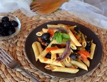 Delicious italian pasta penne with anchovies on a plate on a table. Royalty Free Stock Photography