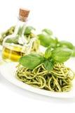 Delicious italian pasta with pesto sauce Stock Photography
