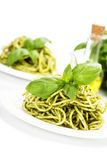 Delicious italian pasta with pesto sauce Royalty Free Stock Images