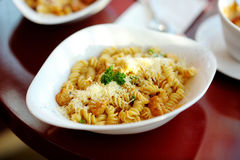 Delicious pasta on white plate Stock Image