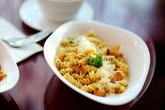 Delicious pasta on white plate Royalty Free Stock Photos