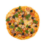 Delicious italian pizza with cherry tomatoes isolated on white Royalty Free Stock Photography