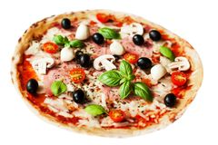 Delicious italian  Pizza with ham, pepper and olives isolated on Royalty Free Stock Photos