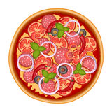 Delicious italian pizza icon with salami isolated on white Stock Image