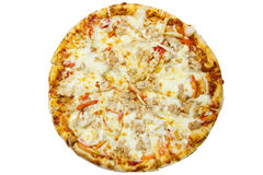 Delicious italian pizza over white Royalty Free Stock Image