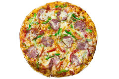 Delicious italian pizza over white Royalty Free Stock Photography