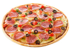 Delicious italian pizza over white Stock Photo