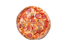 Delicious Italian pizza with pepperoni and mushrooms Royalty Free Stock Photos