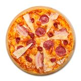 Delicious italian pizza with salami, bacon and parmesan Royalty Free Stock Photos