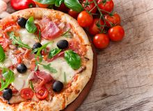 Delicious italian pizza Stock Photos