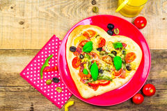 Delicious italian pizza served wooden table Royalty Free Stock Images