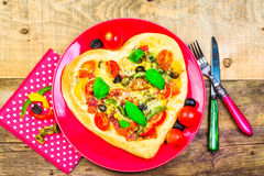 Delicious italian pizza served wooden table Stock Image