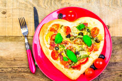 Delicious italian pizza served wooden table Royalty Free Stock Photography