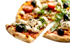 Delicious Italian pizza slice. S background. Top view. Close up royalty free stock photos