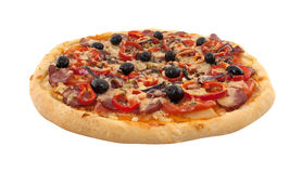 Delicious italian pizza with tomatoes and pepper isolated Stock Photography