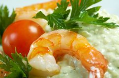 Delicious italian risotto with shrimps Stock Photos