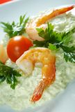 Delicious italian risotto with shrimps Royalty Free Stock Photos