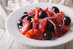 Delicious Italian salad of red orange close-up. horizontal Stock Photography