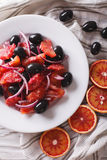 Delicious Italian salad of red orange close-up. Vertical top vie Stock Photography